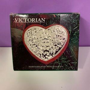 Victorian Silver Heart Shaped Trinket Box
